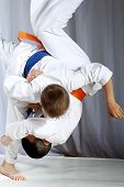 stock photo of judo  - Great nage judo is doing sportsman with a blue belt - JPG