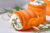 Gourmet Rolls Of Young Carrots With Cream Cheese Macro