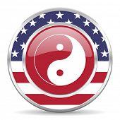 ying yang american icon, usa flag