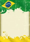 Grunge brazilian poster. A poster with a large scratched frame and a grunge brazilian flag for your