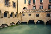 Colourful buildings over river in Treviso