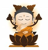 Bodhi and Buddha Cartoon Vector