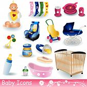 stock photo of girl toy  - Vector illustration of different colored baby icons - JPG