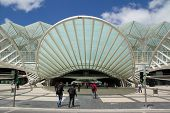 LISBON, PORTUGAL - MAY 27, 2014: Oriente railway and metro station in Lisbon. This Station was designed by Santiago Calatrava and finished in 1998 for the Expo '98 world's fair.