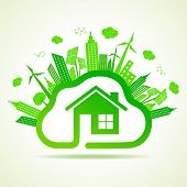 Ecology concept with eco clouds-cape and home vector illustration