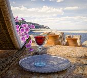 stock photo of chalice antique  - ancient architecture with sunbed concept tourism vacation background - JPG