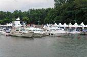 Luxury Yachts And Motor Boats Exhibition On The European Lake.