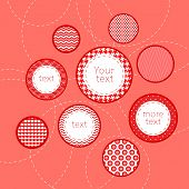 Red and white patterned circles geometric infographics template background, vector