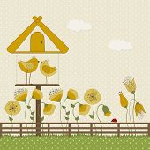 Cute Birds And Birdhouse With Yellow Flowers