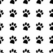 stock photo of animal footprint  - Paw icon seamless vector pattern on white - JPG