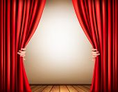 Background with a stage and a curtain.  Raster version