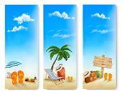 Three summer vacation banners. Raster version