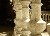 Antique Stone Baluster In Sepia Tone. Round Structure