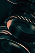 foto of outdated  - Closeup of old retro film camera lens - JPG