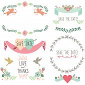 Wedding Flora Vintage Laurel Wreath Elements- illustration