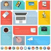 Flat design concept. Vector template and  icons for infographics, web, inerface and mobile.