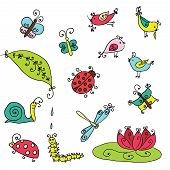 Set Of Funny Cartoon Insects Isolated