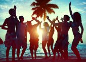 foto of spring break  - Silhouettes of Diverse Multiethnic People Partying - JPG