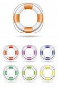 Lifebelt Vector Illustration. Vector Illustration of Lifebelt, seven color variations.