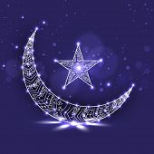 Shiny crescent moon and star on purple background for holy month of Ramadan Kareem.