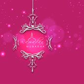 Beautiful pink greeting card for holy month of muslim community Ramadan Kareem decorated with floral designs.