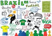 Big set of Brazilian doodles - football, Brazilian accessories, clothes, trees, musical instruments, animals. For banners, sport backgrounds, presentations