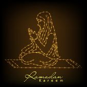 Golden lines illustration of young muslim girl praying on shiny brown background for holy month of m