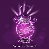 Beautiful floral design decorated arabic lantern on purple background for holy month of muslim commu