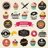 Collection of vintage retro bakery badges and labels. Hand lettering style with cupcakes, croissants