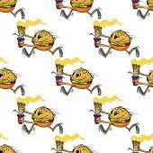 Cute seamless pattern of a running hamburger