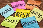 risk management strategies - ignore, accept, avoid, reduce, transfer and exploit on colorful sticky