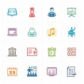 School & Education Icons Set 2 - Colored Series.eps