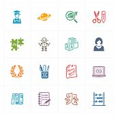 School & Education Icons Set 5 - Colored Series.eps