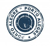 Grunge stamp of the city of Porto Alegre in Brazil isolated on a white background.