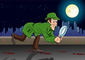 picture of sherlock holmes  - illustration of a sherlock holmes detective search something in night - JPG