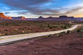 Empty Road Leading To Moab Utah At Sunset Route 128 Castle Valley