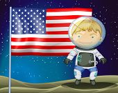 Illustration of an explorer beside the flag of America