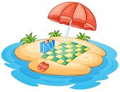 Illustration of an island with an umbrella and a blanket on a white background