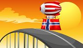 Illustration of a floating balloon travelling wit the flag of Norway