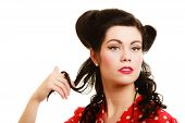 Retro. Coquette Pinup Girl Playing With Hair