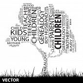Vector concept or conceptual black education text word cloud or tag cloud as tree and grass isolated on white background