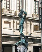 Perseus Holding The Head Of Medusa. Statue By  Benvenuto Cellini. Florence, Italy