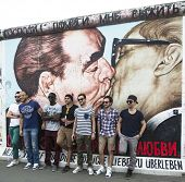 BERLIN, GERMANY - MAY 23, 2014: Graffiti Kiss between Brezhnev and Honecker by Dm.Vrubel on Berlin W