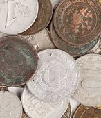 Close up of old coins.