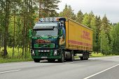 Beautifully Painted Volvo FH12 Truck On The Road At Summer