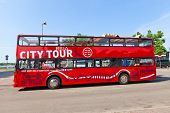 Red City Sightseeing Bus In Riga, Latvia