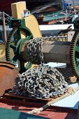 Anchor chain on boat