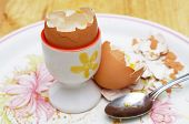 empty egg shells and egg cup