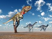 stock photo of apatosaurus  - Computer generated 3D illustration with the Dinosaurs Nanotyrannus and Apatosaurus - JPG