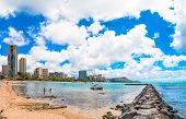 Waikiki shoreline with hotels and Diamond Head in Honolulu